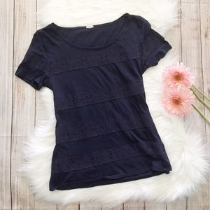 J. Crew   Navy Tee Shirt with Striped Lace Detail